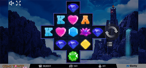 """Gems Tower"" is a slot from MrSlotty that features cross reel layout and 15 pay line"