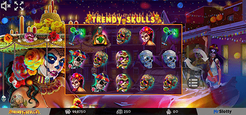 "The ""Trendy Skulls"" MrSlotty slot features a 3x5 layout and 25 pay lines"