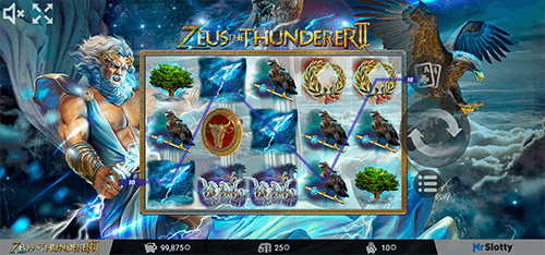 """Zeus the Thunderer II"" is a mythology-themed slot from MrSlotty with 25 pay lines"