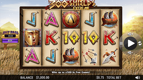 """300 Shields Extreme"" is a Spartan-themed slot from NextGen Gaming with 25 pay lines"