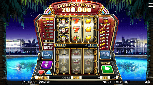 "The NextGen slot ""Jackpot Jester 200,000"" has a 3x3 reel layout and 5 pay lines"