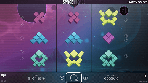 "The Nolimit City slot ""Space Arcade"" has 3x3 reel layout and 9 paylines"