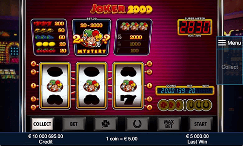 "The ""Joker 2000"" slot from NOVOMATIC has a 3x3 reel layout and 5 pylines"