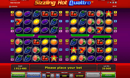 "The ""Sizzling Hot Quattro"" is a regular fruit-themed slot by NOVOMATIC"