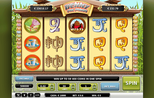 "The Asian-themed slot ""Benny the Panda"" by Omi Gaming has a classic 3x5 reel layout"