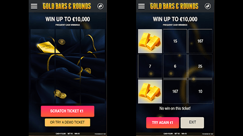 """Gold Bars & Rounds"" is a scratchcard game by Omi Gaming with special gold bar symbols"