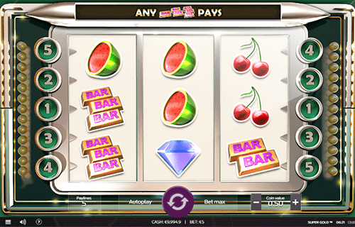 """Super Gold"" is a slot by Omi Gaming with a 3x3 reel layout and 5 fixed pay lines"