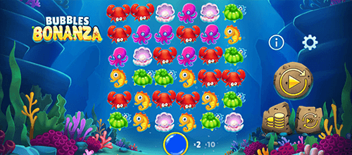 """Bubbles Bonanza"" is a slot by OneTouch with a 6x6 reel layout and 12 pay lines"