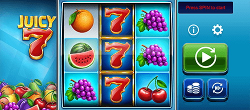 "The ""Juicy 7"" slot by OneTouch has a 3x3 reel layout and 27 fixed pay lines"