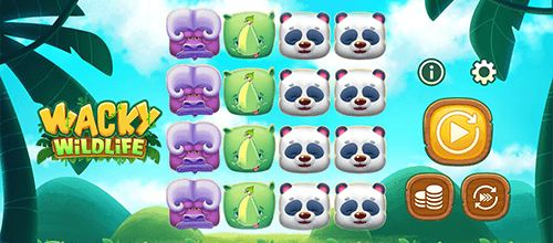 """Wacky Wildlife"" is a slot by OneTouch with a 4x4 layout and 4 horizontal pay lines"