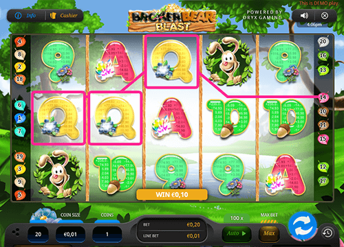 "Oryx Gaming's slot ""Broker Bear Blast"" has 20 pay lines"
