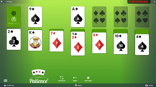 """Casino Patience"" by Oryx Gaming is a gambling version of the famous card game Solitaire"