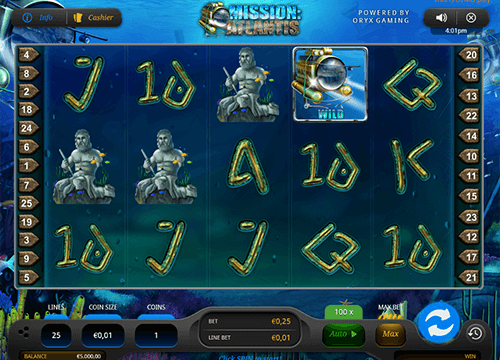 "The ""Mission: Atlantis"" is a 5x3 layout slot with 25 pay lines by Oryx Gaming"