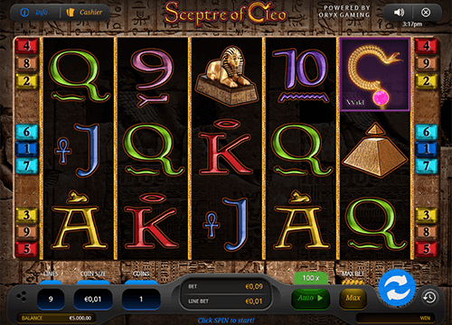 "The ""Sceptre of Cleo"" is a 5x3 layout slot with 9 paylines by Oryx Gaming"