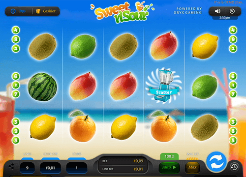 """Sweet 'N Sour"" is a slot game by Oryx Gaming with a classic 5x3 layout"