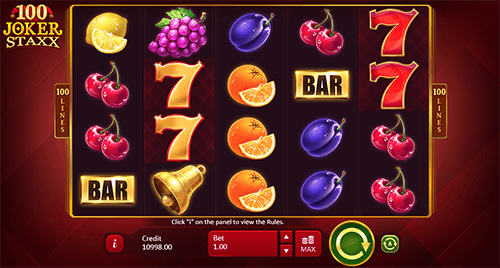 """100 Joker Staxx"" is a slot from Playson with 4x5 layout and 100 pay lines"