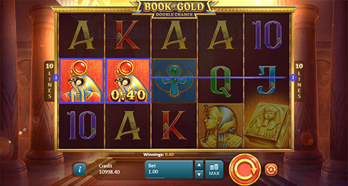 """Book of Gold: Double Chance"" is an Egyptian-styled Playson slot with 10 paylines"