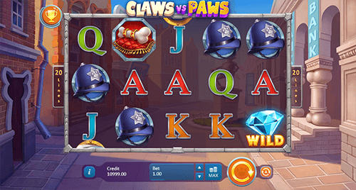 """Claws vs Paws"" is a 3x5 reel layout Playson slot with 20 paylines"