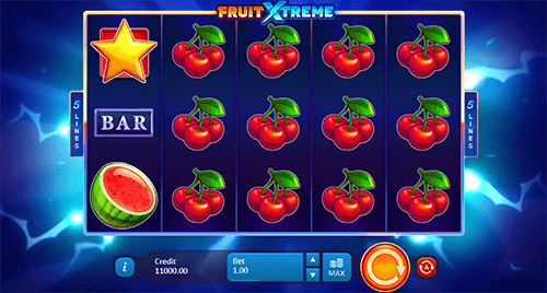 """Fruit Xtreme"" is a Playson fruit-styled slot with 5 paylines, symbol stacks and other features"