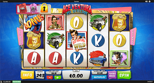 """Ace Ventura Pet Detective"" is a classic 5x3 reel layout slot by Playtech"