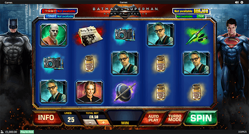 "Playtech's ""Batman v Superman: Dawn of Justice"" slot has a standard 5x3 reel pattern"