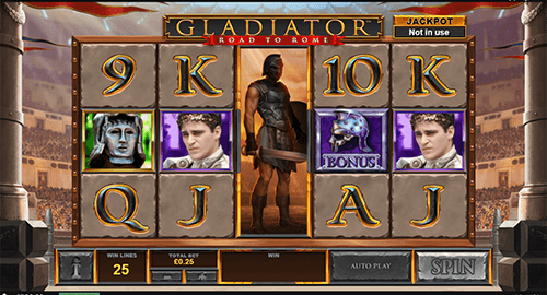 """Gladiator: Road to Rome"" is a 5x3 patterned slot game by Playtech"