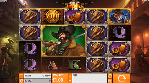 """Sticky Bandits Wild Return"" is a 4x5 layout Quickspin slot with 40 bet lines"