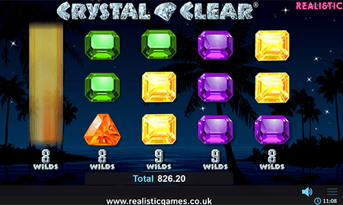 "The Realistic Games slot ""Crystal Clear"" has a 3x5 layout and 10 pay lines"