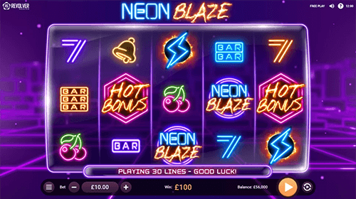 """Neon Blaze"" is a slot by Revolver Gaming with 30 fixed pay lines"