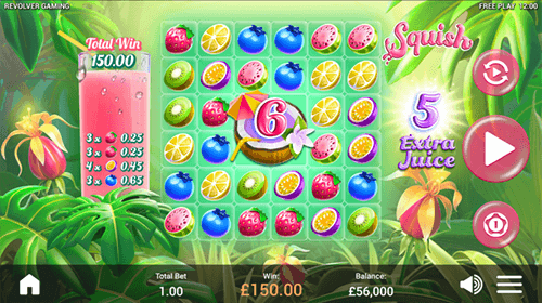"The Revolver Gaming fruity-looking slot ""Squish"" features a 6x6 cascading reel layout"