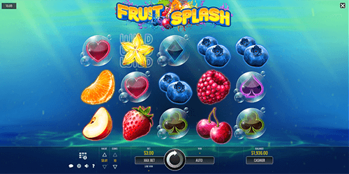 "The ""Fruit Splash"" slot by Rival has a classic 5x3 reel layout"