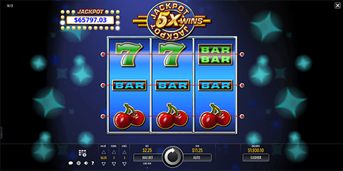 "Rival's slot game ""Jackpot 5x Wins"" has a 3x3 layout and 3 pay lines"