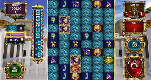 "The ""Solomon: The King"" slot by Red Rake Gaming has a reel layout of 10x6 symbol positions"
