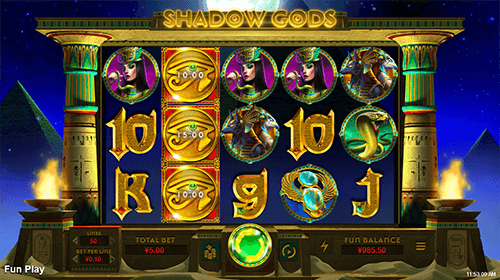"""Shadow Gods"" is an RTG slot game with classic 5x3 layout and 50 pay lines"