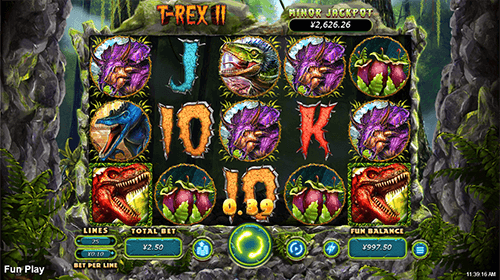 "RTG's slot ""T-Rex 2"" features 5x3 reel layout and 25 pay lines"