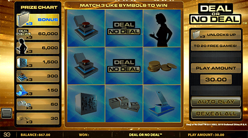 """Deal or no Deal"" is a scratch card by SG Digital with a 3x3 grid box"