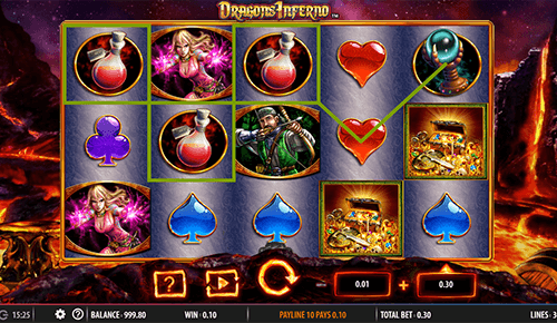 "The ""Dragon's Inferno"" SG Digital slot features 30 pay lines"