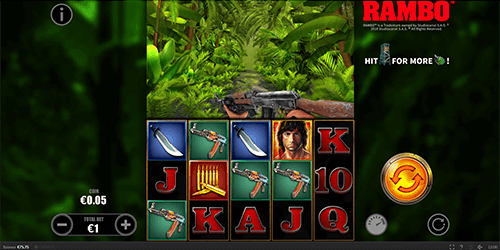 "Skywind's slot game ""Rambo"" features a classic 5x3 reel pattern and 20 pay lines"