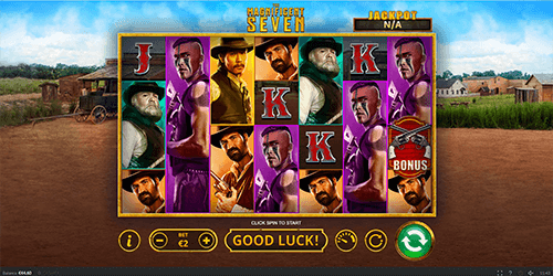 """The Magnificent Seven"" is a 7x4 reel layout slot game by Skywind with 40 winning ways"