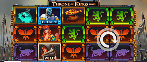 """Throne of Kings Slots"" is a slot by Slot Factory with a 5x3 reel layout"
