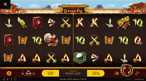 "The ""Golden Fist"" slot game by Spadegaming features 25 fixed paylines"