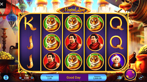 "The ""Magical Lamp"" slot by Spadegaming has a 3x5 reel layout and many bonus features"
