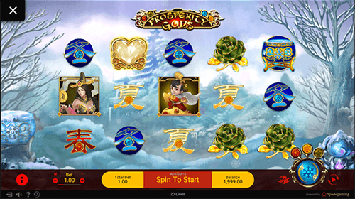 """Prosperity Gods"" is a great 3x5 slot title by Spadegaming with 20 paylines"