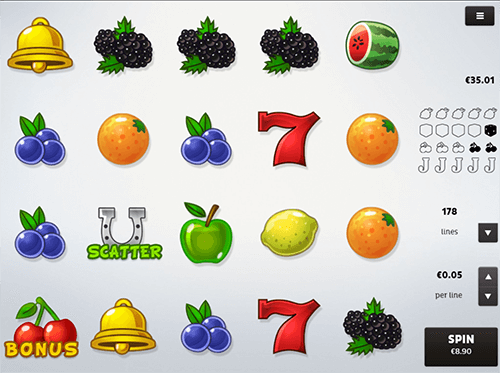 """Fruits"" slot from Spico offers 178 paylines and 4x5 layout"