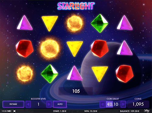"""Starlight"" is a Spigo slot with 3x5 layout and 20 paylines"