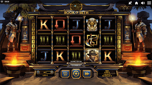 "The slot game ""Book of Seth"" by Spinmatic has a 3x5 reel layout"