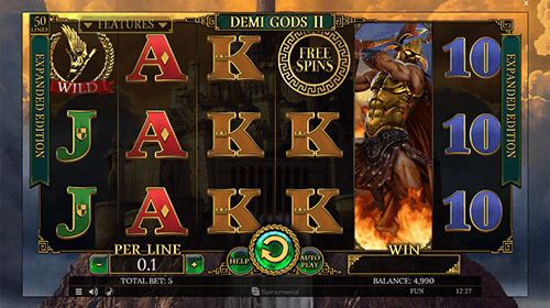 """Demi Gods II"" is a mythology-styled Spinomenal slot which features 50 paylines"