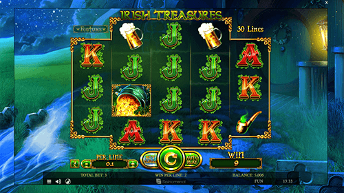 "The ""Irish Treasures"" is Spinomenal slot game with 30 paylines and a unique reel layout"