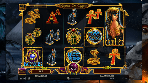 "The Spinomenal slot ""Nights of Egypt"" features 25 paylines and a 3x5 reel layout"