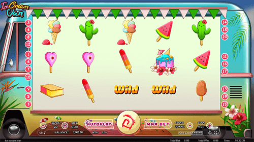 """Ice Cream Van"" slot by WAC has 20 paylines and many special symbols"